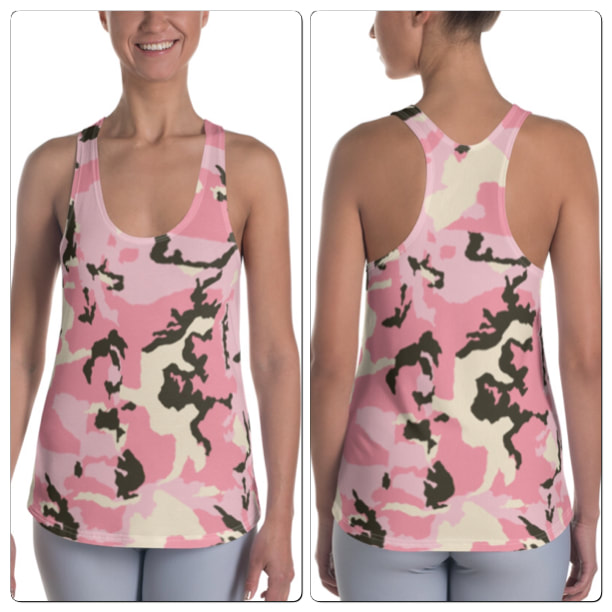 Pink Camo Racerback Tank From Bibs2Bags
