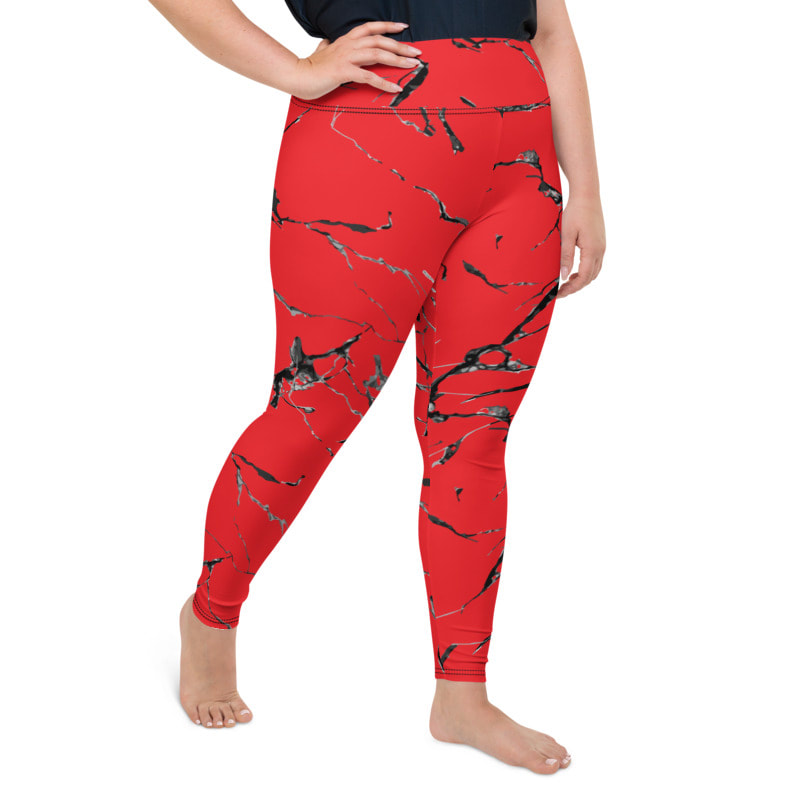 Red Marble Plus Size Full Length Yoga Leggings From Bibs2Bags